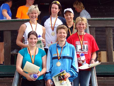 Siegerehrung Gesamtwertung Frauen Deutsche Meisterschaft Quadrathlon Sprintdistanz