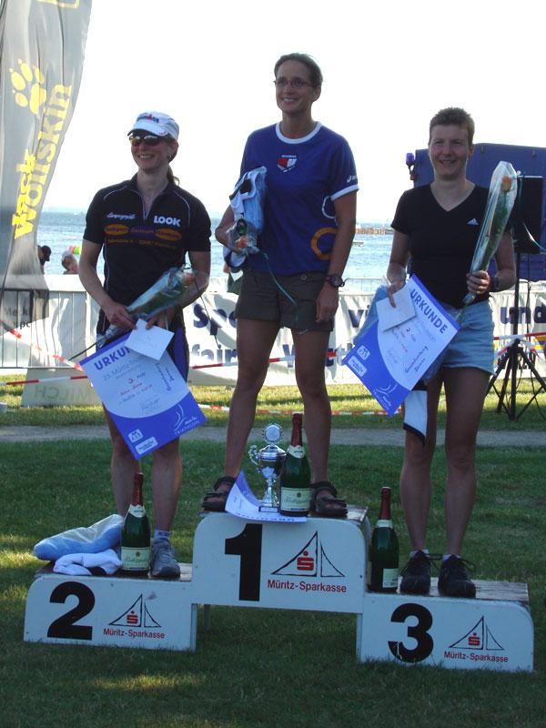 Siegerehrung  Gesamtwertung Frauen Müritz Triathlon Mitteldistanz