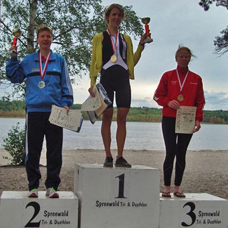 Katrin Burow wird Berlin-Brandenburger Vizemeisterin im Triathlon auf der Mitteldistanz beim Spreewald-Triathlon 2011
