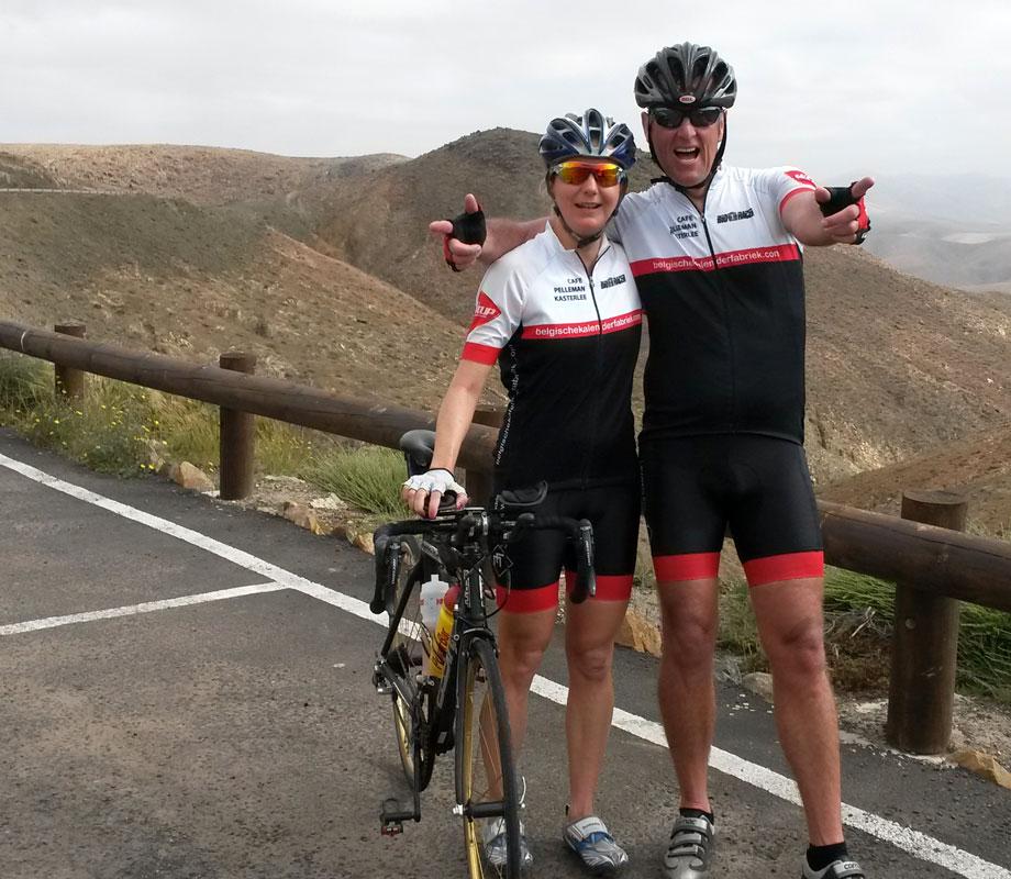 Katrin Burow und Johan Declercq beim Radtraining auf Fuerteventura 2015