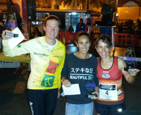 Katrin Burow belegt den 3. Platz beim Carrera Nocturna 10 km Lauf in Gran Tarajal / Fuerteventura am 20.06.2015