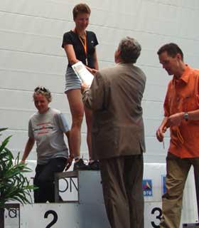 Katrin Burow wird Deutsche Meisterin in der Altersklasse W30 bei der DM Duathlon in Falkenstein 2009