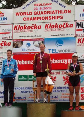 Katrin Burow ist Vizeweltmeisterin im Quadrathlon auf der Mitteldistanz in Sedlčany / Tschechien 2009