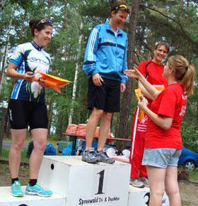 Katrin Burow gewinnt den Spreewald-Duathlon 2011 auf der Sprint-Distanz