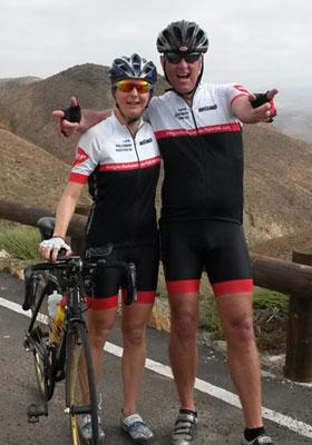 Katrin Burow und Johan Declercq beim Radfahren auf Fuerteventura
